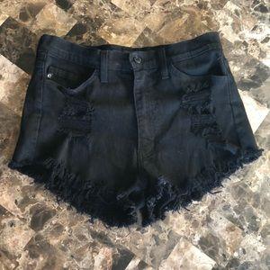 Black Distressed KanCan Shorts